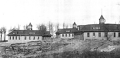 Dairy Barns under construction, 1904
